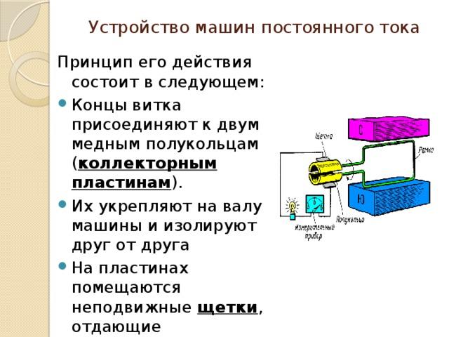 Устройство машин постоянного тока Принцип его действия состоит в следующем:
