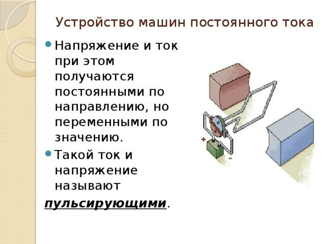 Устройство машин постоянного тока Напряжение и ток при этом получаются постоянными по направлению, но переменными по значению. Такой ток и напряжение называют пульсирующими .