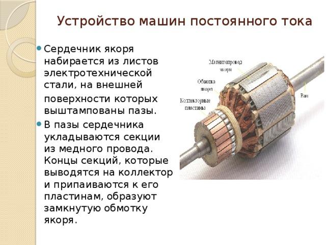 Устройство машин постоянного тока Сердечник якоря набирается из листов электротехнической стали, на внешней поверхности которых выштампованы пазы.