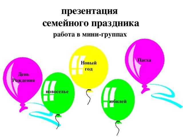 презентация семейного праздника работа в мини-группах Пасха Новый год День Рождения новоселье юбилей