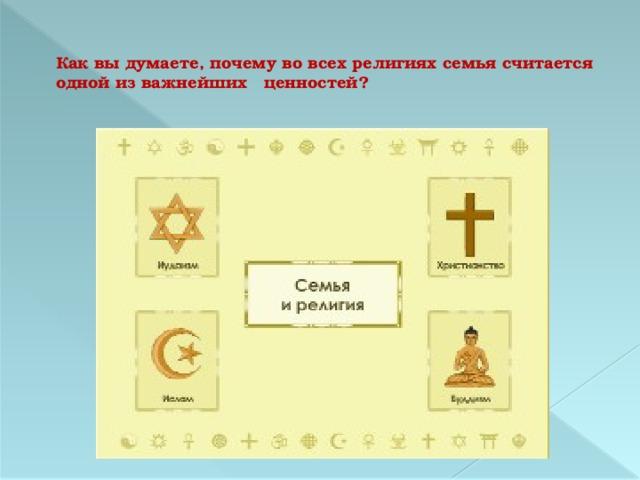 Как вы думаете, почему во всех религиях семья считается одной из важнейших ценностей?