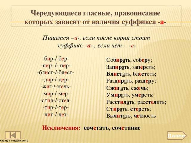 Чередующиеся гласные, правописание которых зависит от наличия суффикса - а - Пишется – и -, если после корня стоит суффикс – а - , если нет - - е - -б и р-/-б е р- -п и р- /- п е р- -бл и ст-/-бл е ст- -д и р-/-д е р- -ж и г-/-ж е чь- -м и р-/-м е р- -ст и л-/-ст е л- -т и р-/-т е р- -ч и т-/-ч е т- Со б и р а ть, со б е р у; За п и р а ть, за п е р еть; Бл и ст а ть, бл е ст еть; Раз д и р а ть, раз д е р у; С ж и г а ть, с ж е чь ; У м и р а ть, у м е р еть; Рас ст и л а ть, рас ст е л ить; С т и р а ть, ст е р еть; Вы ч и т а ть, ч е т ность Исключения: соч е тать, соч е тание Далее Назад в содержание