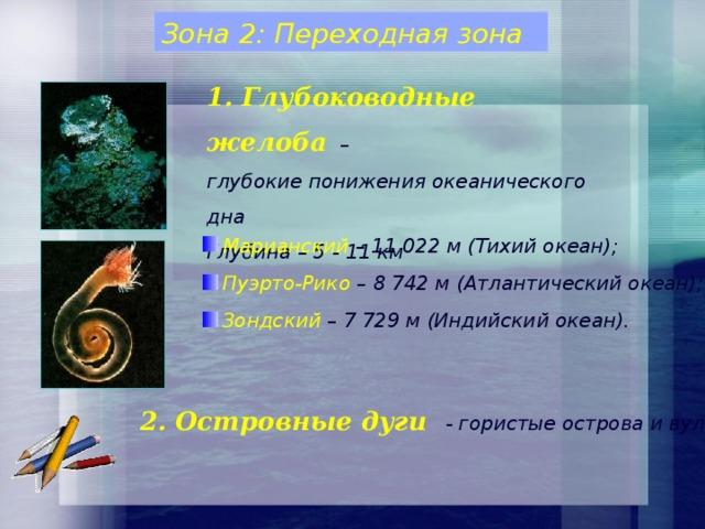 Зона 2: Переходная зона 1. Глубоководные желоба  – глубокие понижения океанического дна Глубина – 5 - 11 км Марианский – 11 022 м (Тихий океан);  Пуэрто-Рико – 8 742 м (Атлантический океан);  Зондский – 7 729 м (Индийский океан).   2. Островные дуги - гористые острова и вулканы