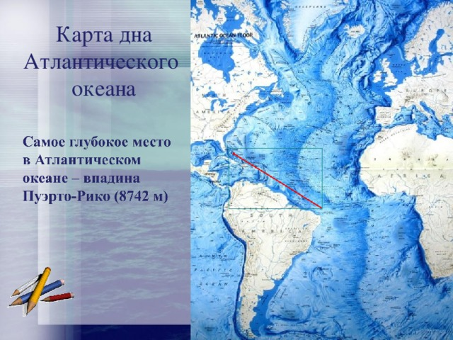 Карта дна Атлантического океана