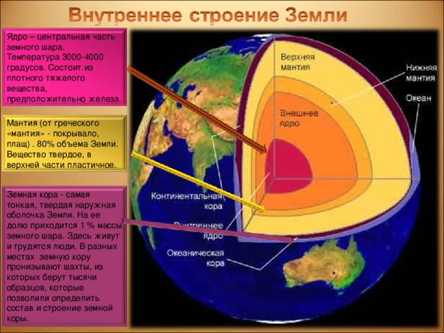 Ядро – центральная часть земного шара. Температура 3000-4000 градусов. Состоит из плотного тяжелого вещества, предположительно железа. Мантия (от греческого «мантия» - покрывало, плащ) . 80% объема Земли. Вещество твердое, в верхней части пластичное. Земная кора - самая тонкая, твердая наружная оболочка Земли. На ее долю приходится 1 % массы земного шара. Здесь живут и трудятся люди. В разных местах земную кору пронизывают шахты, из которых берут тысячи образцов, которые позволили определить состав и строение земной коры.