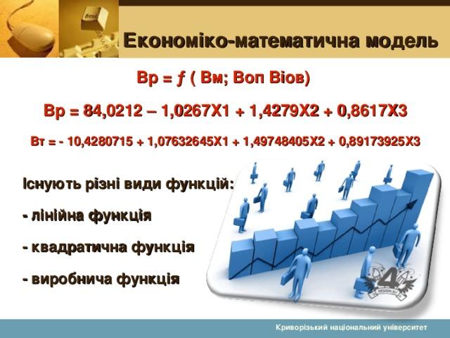Економіко-математична модель Вр = ƒ ( Вм; Воп Віов) Вр = 84,0212 – 1,0267Х1 + 1,4279Х2 + 0,8617Х3 Вт = - 10,4280715 + 1,07632645Х1 + 1,49748405Х2 + 0,89173925Х3  Існують різні види функцій: - лінійна функція - квадратична функція - виробнича функція  Криворізький національний університет