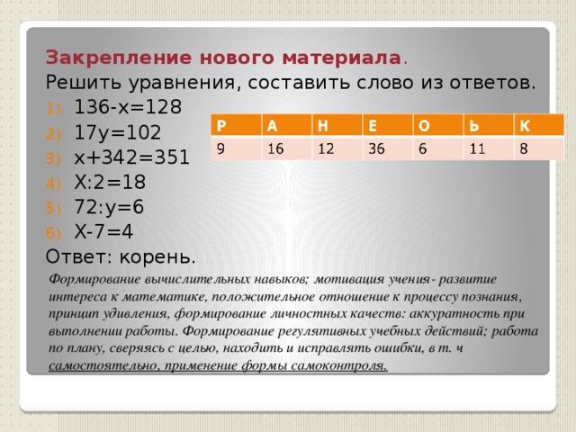 Закрепление нового материала . Решить уравнения, составить слово из ответов. 136-х=128 17y=102 х+342=351 Х:2=18 72:y=6 Х-7=4 Ответ: корень. Формирование вычислительных навыков; мотивация учения- развитие интереса к математике, положительное отношение к процессу познания, принцип удивления, формирование личностных качеств: аккуратность при выполнении работы. Формирование регулятивных учебных действий; работа по плану, сверяясь с целью, находить и исправлять ошибки, в т. ч самостоятельно, применение формы самоконтроля.