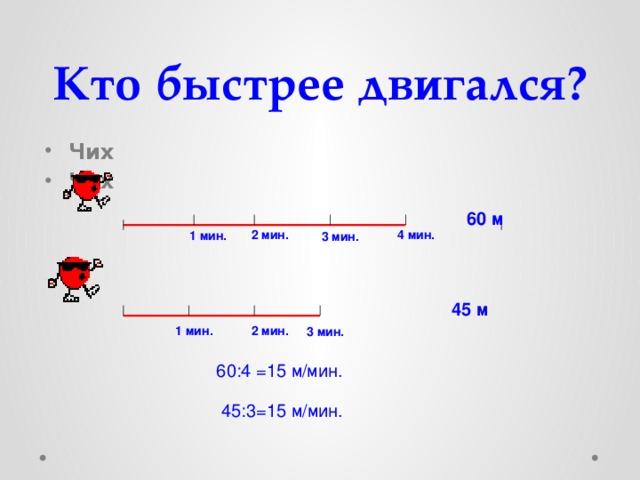 Кто быстрее двигался? Чих Чих 60 м 2 мин. 4 мин. 1 мин. 3 мин. 45 м 1 мин. 2 мин. 3 мин. 60:4 =15 м/мин. 45:3=15 м/мин.