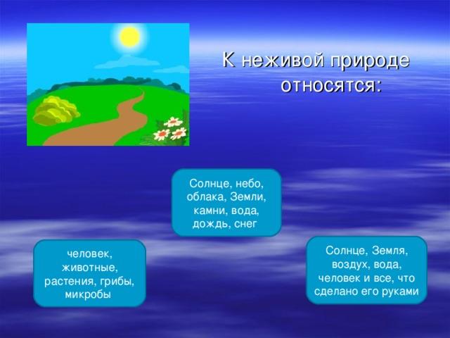 К неживой природе относятся: Солнце, небо, облака, Земли, камни, вода, дождь, снег Солнце, Земля, воздух, вода, человек и все, что сделано его руками человек, животные, растения, грибы, микробы