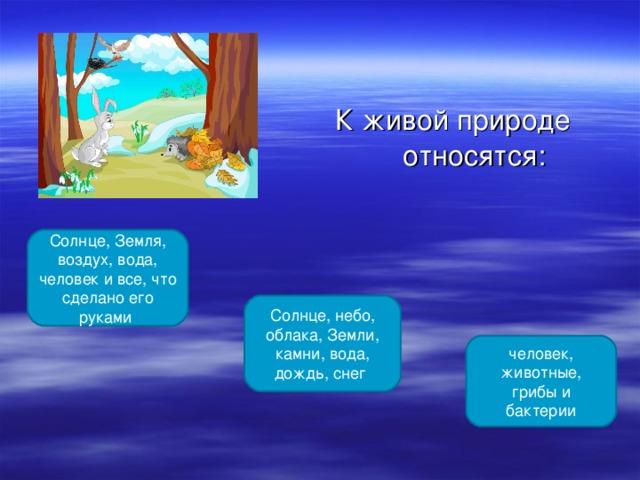 К живой природе относятся: Солнце, Земля, воздух, вода, человек и все, что сделано его руками Солнце, небо, облака, Земли, камни, вода, дождь, снег человек, животные, грибы и бактерии