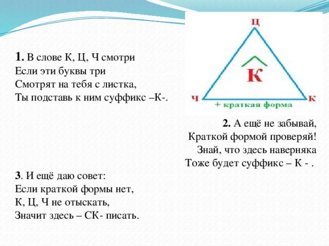1 . В слове К, Ц, Ч смотри Если эти буквы три Смотрят на тебя с листка, Ты подставь к ним суффикс –К-.  2. А ещё не забывай, Краткой формой проверяй! Знай, что здесь наверняка Тоже будет суффикс – К - . 3 . И ещё даю совет: Если краткой формы нет, К, Ц, Ч не отыскать, Значит здесь – СК- писать.