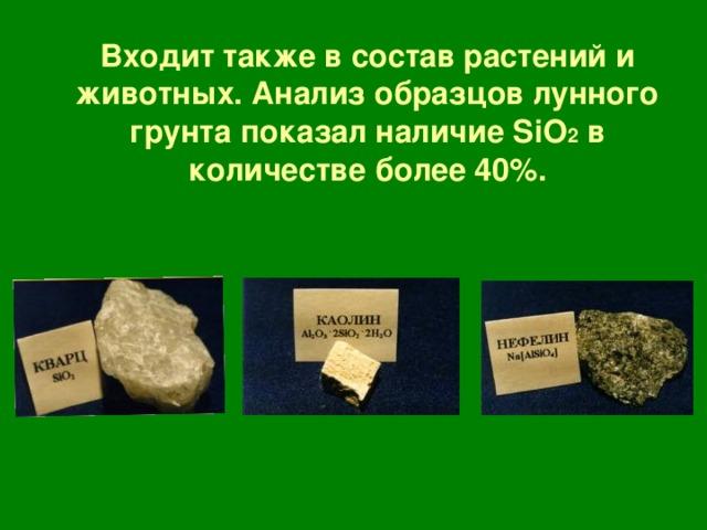 Входит также в состав растений и животных. Анализ образцов лунного грунта показал наличие SiO 2  в количестве более 40 % .