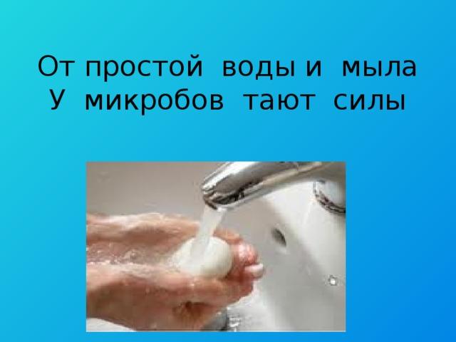 От простой воды и мыла  У микробов тают силы