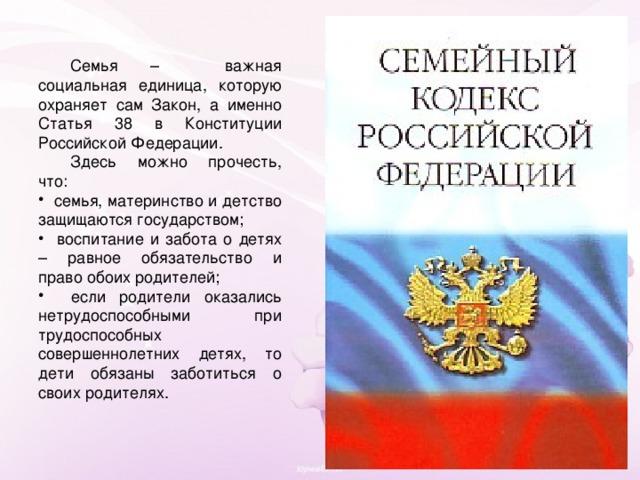 Семья – важная социальная единица, которую охраняет сам Закон, а именно Статья 38 в Конституции Российской Федерации.  Здесь можно прочесть, что: