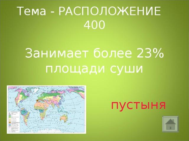 Тема - РАСПОЛОЖЕНИЕ 400 Занимает более 23% площади суши  пустыня