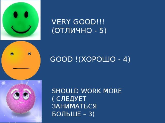 VERY GOOD!!! (ОТЛИЧНО - 5) GOOD !(ХОРОШО - 4) SHOULD WORK MORE ( СЛЕДУЕТ ЗАНИМАТЬСЯ БОЛЬШЕ – 3)