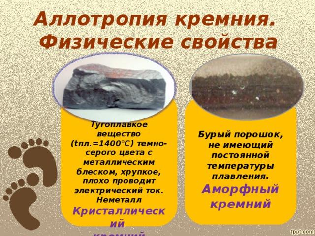 Аллотропия кремния.  Физические свойства       Тугоплавкое вещество ( t пл.=1400°С) темно-серого цвета с металлическим блеском, хрупкое, плохо проводит электрический ток. Неметалл Кристаллический кремний      Бурый порошок, не имеющий постоянной температуры плавления. Аморфный кремний