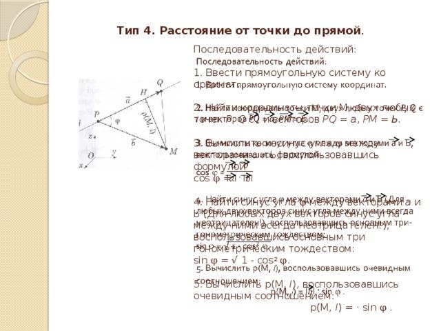 Тип 4. Расстояние от точки до прямой . Последовательность действий:   1 . Ввести прямоугольную систему координат.   2. Найти координаты точки М, двух любых точек Р, Q є l и векторов PQ = а , РМ = Ь.   3. Вычислить косинус угла φ между векторами а и Ь, воспользовавшись  формулой  cos φ =    4. Найти синус угла φ между векторами а и Ь (Для любых двух векторов синус угла между ними всегда неотрицателен!), воспользовавшись основным тригонометрическим тождеством:  sin φ = √ 1 - cos 2  φ .   5. Вычислить р(М, l ), воспользовавшись очевидным соотношением:  р(М, l ) = · sin φ .