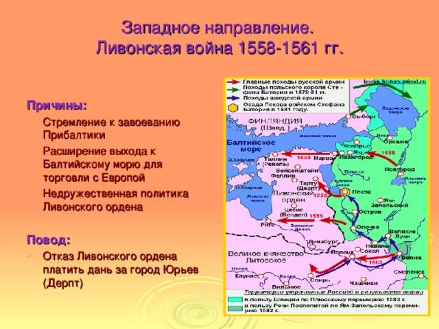 Западное направление.  Ливонская война 1558-1561 гг.  Причины: Стремление к завоеванию Прибалтики Расширение выхода к Балтийскому морю для торговли с Европой Недружественная политика Ливонского ордена Повод: