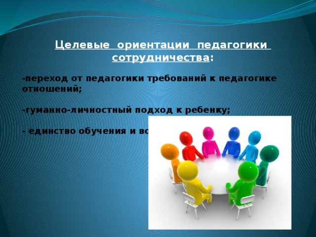 Целевые ориентации педагогики сотрудничества :  - переход от педагогики требований к педагогике отношений;  -гуманно-личностный подход к ребенку;  - единство обучения и воспитания.