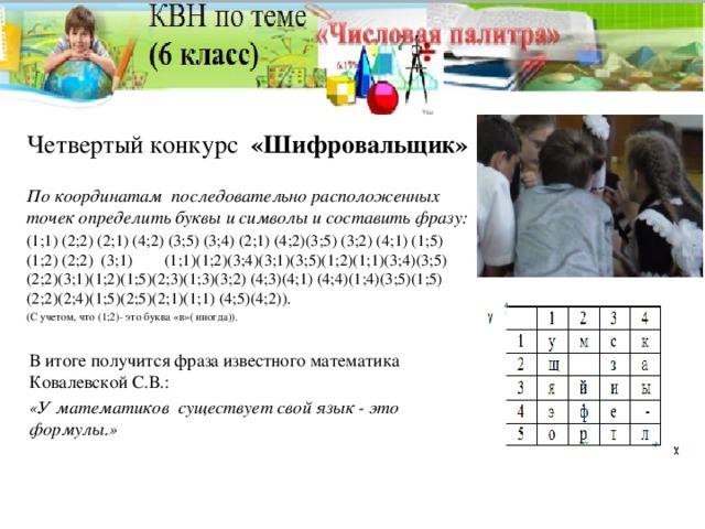 Четвертый конкурс «Шифровальщик»  По координатам последовательно расположенных точек определить буквы и символы и составить фразу: (1;1) (2;2) (2;1) (4;2) (3;5) (3;4) (2;1) (4;2)(3;5) (3;2) (4;1) (1;5) (1;2) (2;2) (3;1) (1;1)(1;2)(3;4)(3;1)(3;5)(1;2)(1;1)(3;4)(3;5) (2;2)(3;1)(1;2)(1;5)(2;3)(1;3)(3;2) (4;3)(4;1) (4;4)(1;4)(3;5)(1;5) (2;2)(2;4)(1;5)(2;5)(2;1)(1;1) (4;5)(4;2)). (С учетом, что (1;2)- это буква «в»( иногда)). В итоге получится фраза известного математика Ковалевской С.В.: «У математиков существует свой язык - это формулы.»