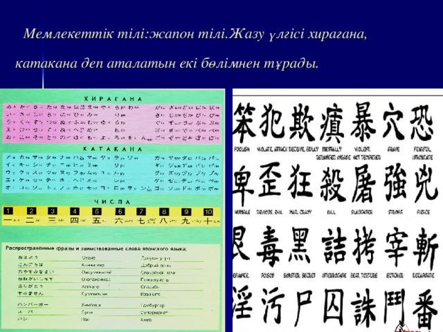 Мемлекеттік тілі:жапон тілі.Жазу үлгісі хирагана, катакана деп аталатын екі бөлімнен тұрады.
