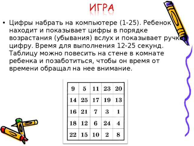 Цифры набрать на компьютере (1-25). Ребенок находит и показывает цифры в порядке возрастания (убывания) вслух и показывает ручкой цифру. Время для выполнения 12-25 секунд. Таблицу можно повесить на стене в комнате ребенка и позаботиться, чтобы он время от времени обращал на нее внимание.