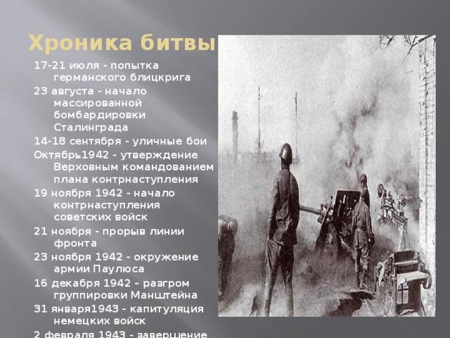 Хроника битвы 17-21 июля - попытка германского блицкрига 23 августа - начало массированной бомбардировки Сталинграда 14-18 сентября - уличные бои Октябрь1942 - утверждение Верховным командованием плана контрнаступления 19 ноября 1942 - начало контрнаступления советских войск 21 ноября - прорыв линии фронта 23 ноября 1942 - окружение армии Паулюса 16 декабря 1942 – разгром группировки Манштейна 31 января1943 - капитуляция немецких войск 2 февраля 1943 - завершение боев