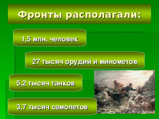 1,5 млн. человек   27 тысяч орудий и минометов   5,2 тысяч танков   3,7 тысяч самолетов