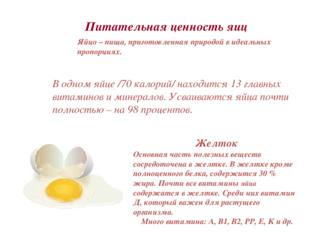 Питательная ценность яиц Яйцо – пища, приготовленная природой в идеальных пропорциях. В одном яйце /70 калорий/ находится 13 главных витаминов иминералов. Усваиваются яйца почти полностью – на98 процентов.           Желток Основная часть полезных веществ сосредоточена в желтке. В желтке кроме полноценного белка, содержится 30 % жира. Почти все витамины яйца содержатся в желтке. Среди них витамин Д, который важен для растущего организма.  Много витамина: А, В1, В2, РР, Е, К и др.