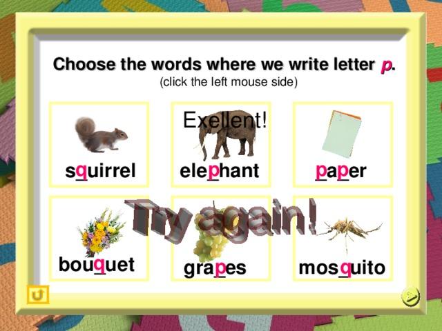 Choose the words where we write letter  p .   (click the left mouse side) Exellent!  q   p   p   p  _ a _ er  e le _ hant s_ uirrel  q   p   q  bou_uet  m os _ uito  g ra _ es