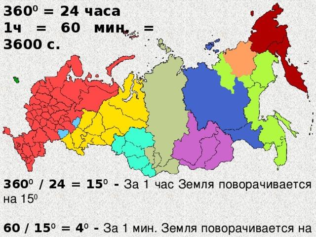 360 0 = 24 часа 1ч = 60 мин. = 3600 с. 360 0 / 24 = 15 0 - За 1 час Земля поворачивается на 15 0   60 / 15 0 = 4 0 - За 1 мин. Земля поворачивается на 4 0