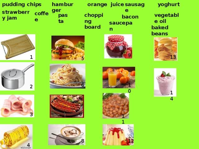 orange juice yoghurt chips sausage hamburger pudding strawberry jam coffee pasta chopping board vegetable oil bacon saucepan baked beans 9 13 1 5 10 6 2 14 7 3 11 12 8 4