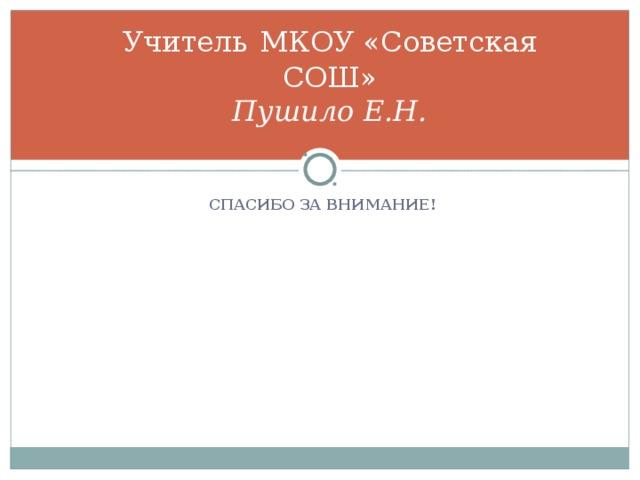 Учитель  МКОУ «Советская СОШ»  Пушило Е.Н. СПАСИБО ЗА ВНИМАНИЕ!