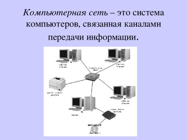 Компьютерная сеть – это система компьютеров, связанная каналами передачи информации .
