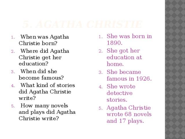 5. Agatha Christie
