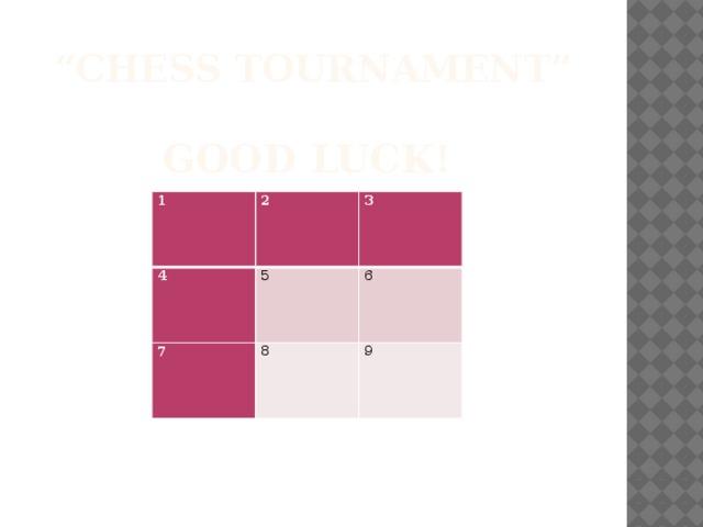 """"""" Chess tournament""""   GOOD LUCK! 1 2 4 3 5 7 8 6 9"""