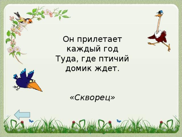 Он прилетает каждый год  Туда, где птичий домик ждет.    «Скворец»