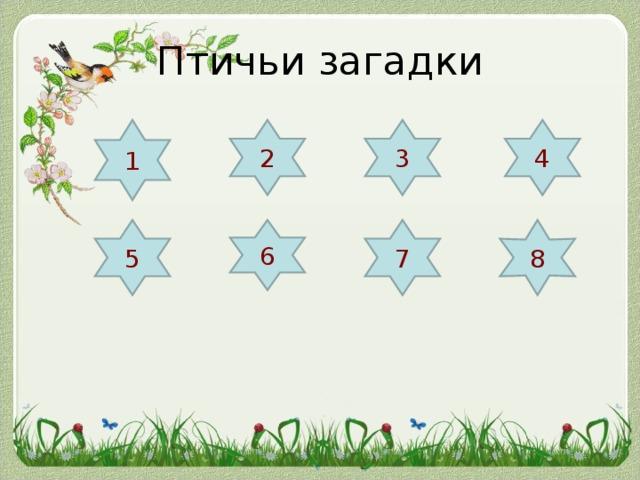 Птичьи загадки 1 2 3 4 5 8 7 6