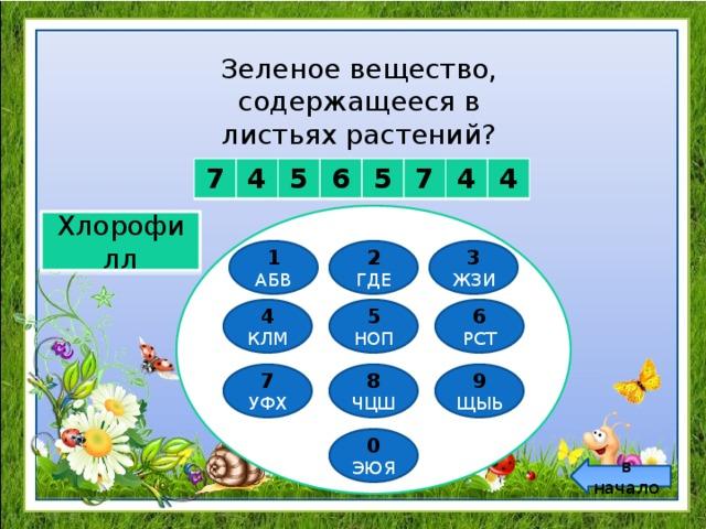 Зеленое вещество, содержащееся в листьях растений? 7 4 5 6 5 7 4 4 Хлорофилл 1 2 3 ГДЕ ЖЗИ АБВ 6 5 4 НОП РСТ КЛМ 8 9 7 ЧЦШ ЩЫЬ УФХ 0 ЭЮЯ в начало