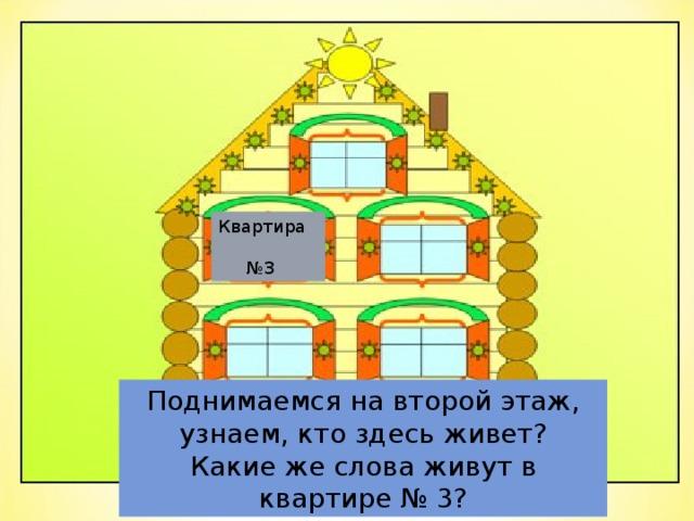 Квартира   №3 Поднимаемся на второй этаж, узнаем, кто здесь живет? Какие же слова живут в квартире № 3?