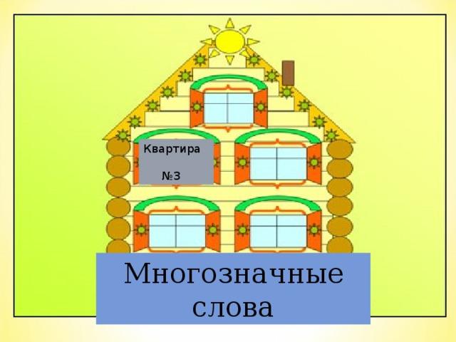 Квартира   №3 Многозначные слова