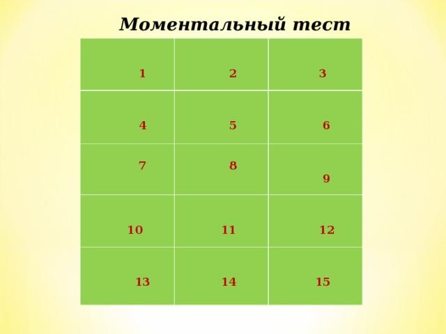 Моментальный тест         1    2    4    3    5   7    6   8    10    13     9    11    14    12    15