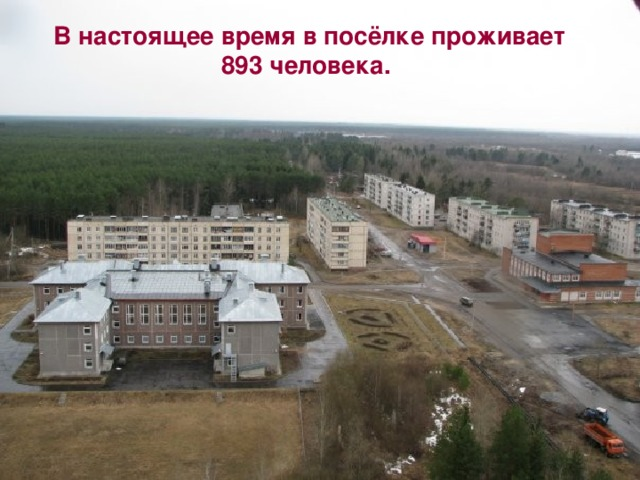 В настоящее время в посёлке проживает 893 человека.