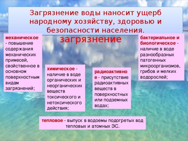 Загрязнение воды наносит ущерб народному хозяйству, здоровью и безопасности населения. загрязнение механическое - повышение содержания механических примесей, свойственное в основном поверхностным видам загрязнений; бактериальное и биологическое - наличие в воде разнообразных патогенных микроорганизмов, грибов и мелких водорослей; химическое - наличие в воде органических и неорганических веществ токсического и нетоксического действия; радиоактивное - присутствие радиоактивных веществ в поверхностных или подземных водах; тепловое - выпуск в водоемы подогретых вод тепловых и атомных ЭС.