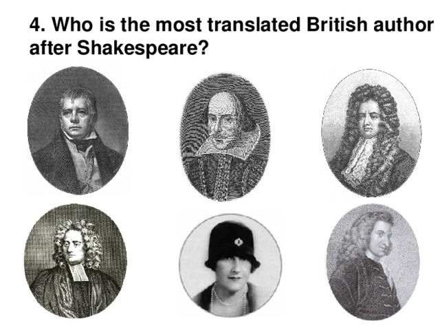 4. Who is the most translated British author after Shakespeare?