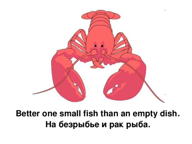 Better one small fish than an empty dish . На безрыбье и рак рыба.