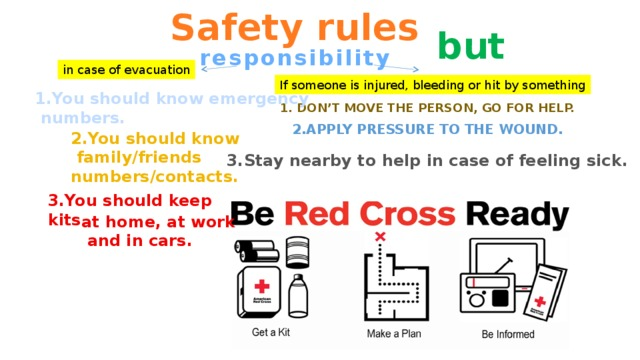 Safety rules but responsibility in case of evacuation If someone is injured, bleeding or hit by something 1.You should know emergency  numbers. 1. Don't move the person, go for help. 2.APPLY PRESSURE TO THE WOUND. 2.You should know  family/friends numbers/contacts. 3.Stay nearby to help in case of feeling sick. 3.You should keep kits at home, at work  and in cars.