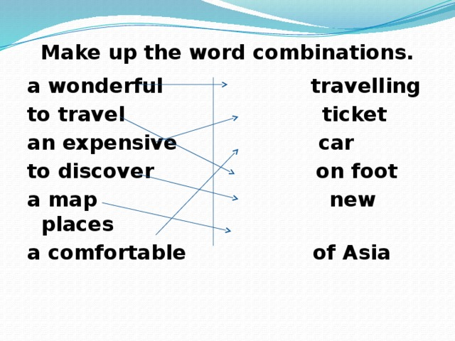 Make up the word combinations. a wonderful travelling to travel ticket an expensive car to discover on foot a map new places a comfortable of Asia