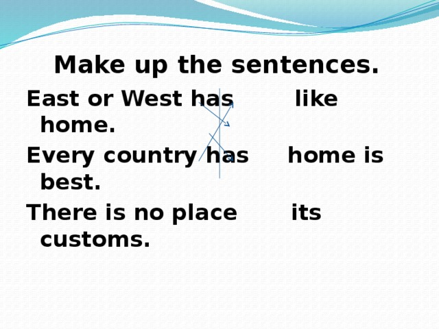 Make up the sentences. East or West has like home. Every country has home is best. There is no place its customs.